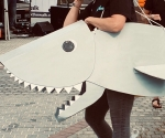Sharking around in recycled artwear