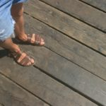 Wooden planks - a nice surface to work on but mind the gaps