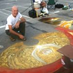 Mariano Botteli is producing an anamorphic artwork using the cylinder and distortion