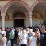 The Church overflows with people attending the mass for the The Feast of the Assumption of the Blessed Virgin Mary