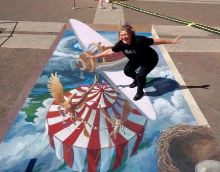 wing walker on biplane, 3d pavement art